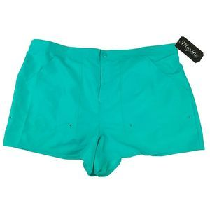 Maxine of Hollywood Board Shorts 22W Teal Panty